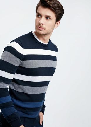 Синий мужской свитер lc waikiki / лс вайкики в бело-серую полоску