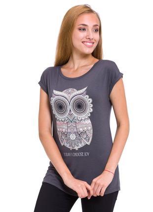 Женская футболка серая lc waikiki / лс вайкики с совой на груди