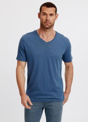 Голубая мужская футболка lc waikiki / лс вайкики с v-образным ...