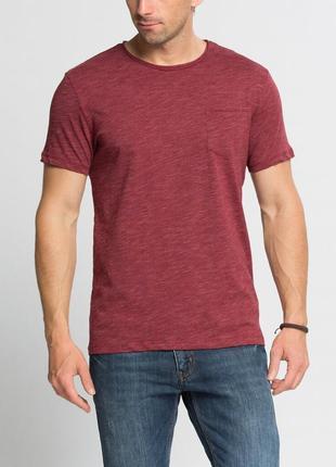Бордовая мужская футболка lc waikiki / лс вайкики с карманом н...