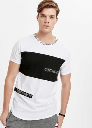 Белая мужская футболка lc waikiki / лс вайкики с надписью cutt...
