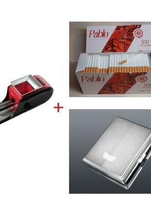 Электрическая машинка для сигарет, Gerui 2 +Гильзы+портсигар