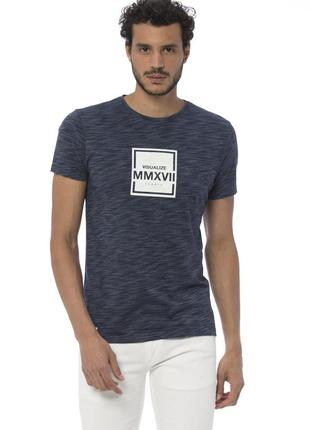 Синяя мужская футболка lc waikiki / лс вайкики с надписью visu...