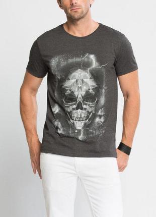 Мужская футболка серая lc waikiki / лс вайкики с рисунком на г...