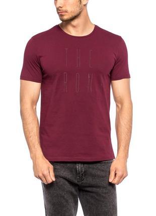 Мужская футболка бордовая lc waikiki / лс вайкики с надписью t...