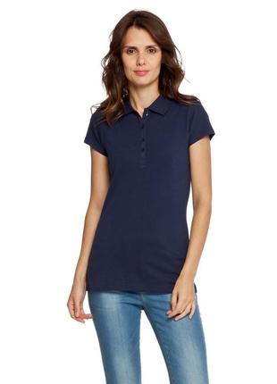 Синяя женская футболка-поло lc waikiki / лс вайкики с воротником