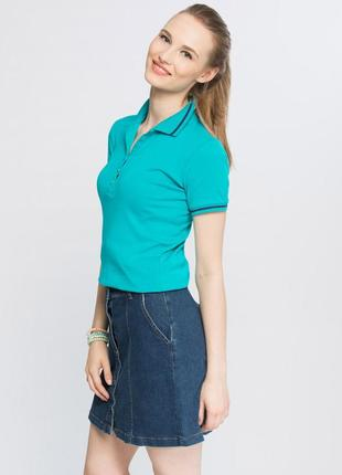 Бирюзовая женская футболка-поло lc waikiki / лс вайкики с воро...