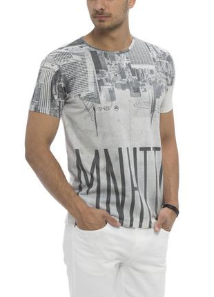 Мужская футболка белая lc waikiki / лс вайкики с надписью manh...