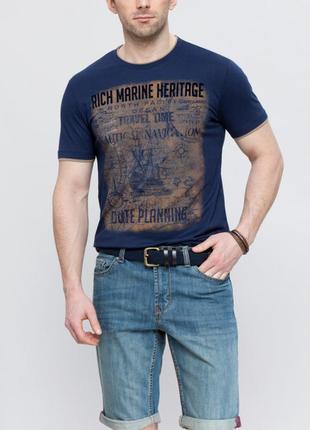 Синяя мужская футболка lc waikiki / лс вайкики с бархатным рис...
