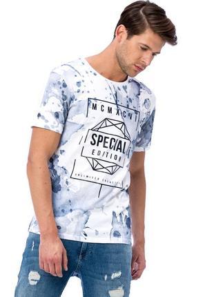 Белая мужская футболка lc waikiki с голубым рисунком и надпись...
