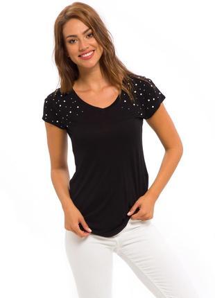 Женская футболка черная lc waikiki / лс вайкики со стразами на...