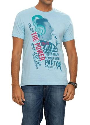 Мужская футболка lc waikiki / лс вайкики голубого цвета с надп...