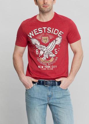 Мужская футболка lc waikiki / лс вайкики красного цвета с надп...