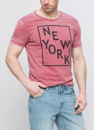 Мужская футболка lc waikiki / лс вайкики розового цвета с надп...