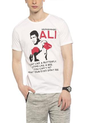 Белая мужская футболка lc waikiki / лс вайкики muhammad ali