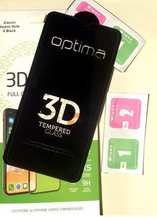 Защитное стекло для телефона Redmi Note 8  и Note 8PRO Black  3D