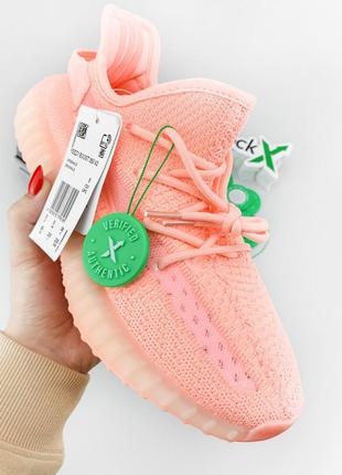Adidas yeezy boost 350 v2 pink женские кроссовки наложенный пл...