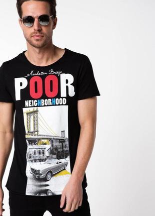 Мужская футболка de facto / де факто черного цвета с рисунком ...