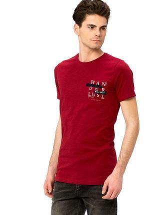 Мужская футболка бордовая lc waikiki / лс вайкики с надписью w...