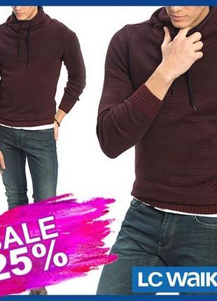 Бордовый мужской свитер lc waikiki / лс вайкики с воротником-х...