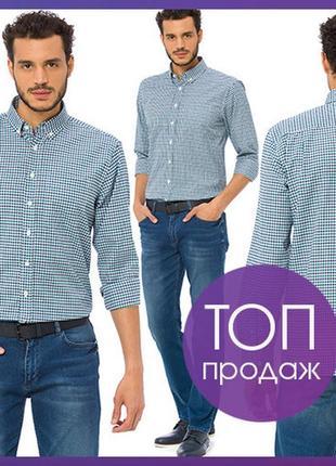 Белая мужская рубашка lc waikiki в сине-голубую клетку с карма...