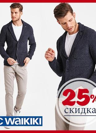 Мужской пиджак lc waikiki синий с кленовым листом на воротнике...