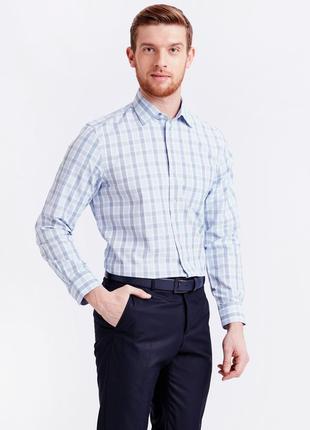 Мужская рубашка белая lc waikiki / лс вайкики в голубую и синю...