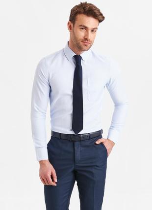 Мужская рубашка голубая lc waikiki с карманом и пуговицами на ...