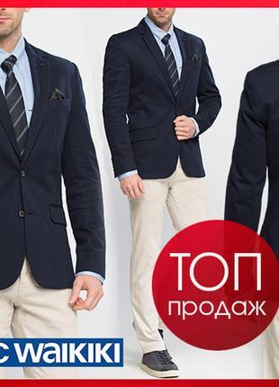 Мужской пиджак классический lc waikiki синий c 2 клапанами, с ...