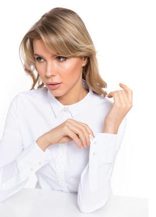 Женская рубашка белая lc waikiki / лс вайкики с планкой из жем...