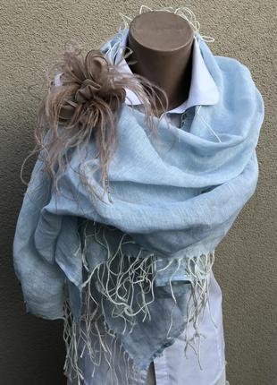 Голубой,лен шарф,палантин с бахромой,премиум бренд,cornici