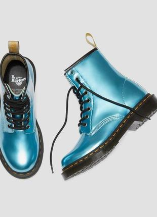 Ботинки dr. martens голубые smooth leather original