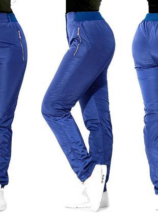 Женские спортивные штаны из плащевки на флисе размеры (1530)