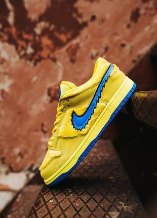 Кроссовки nike sb dunk low x grateful dead yellow blu