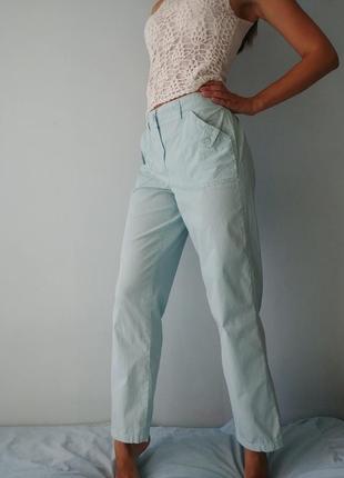 Хлопковые брюки штаны в полоску с высокой талией