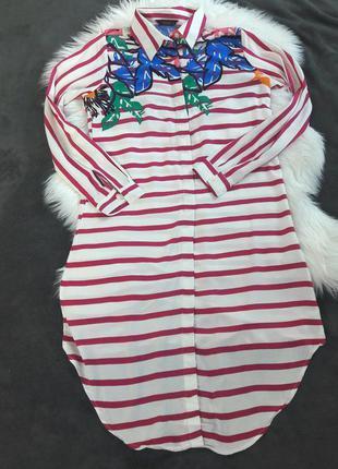 Платье рубашка в полоску с цветами хлопок