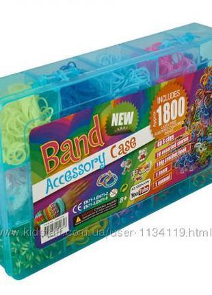Резинки для плетения браслетов rainbow loom bands 1800 набор кейс