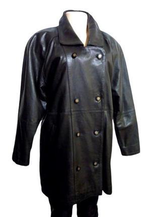 Черный кожаный тренч, куртка, полу пальто на синтепоне