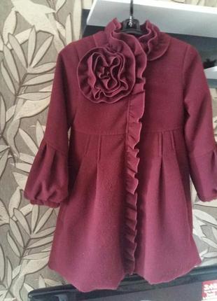 Пальто на девочку подростка бордовое