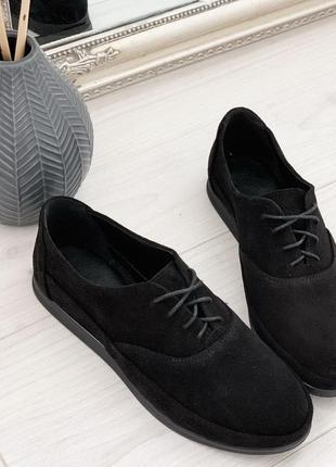 Черные повседневные туфли, мокасины, натуральная замша