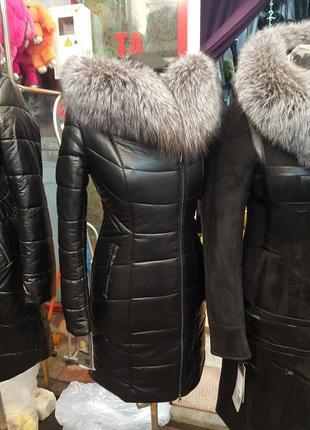 Зимние кожаные пальто пуховики с мехом чернобурки