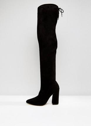 Высокие сапоги ботфорты на блочном каблуке асос asos