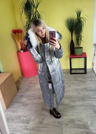 Стильные длинные зимние пальто с песцом