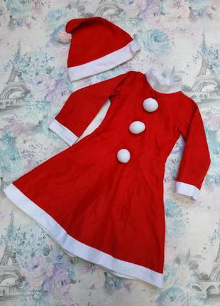 Платье новогоднее,карнавальный костюм девочка санта, мисис санта