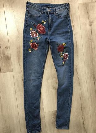 Стильные джинсы скинни завышенная талия