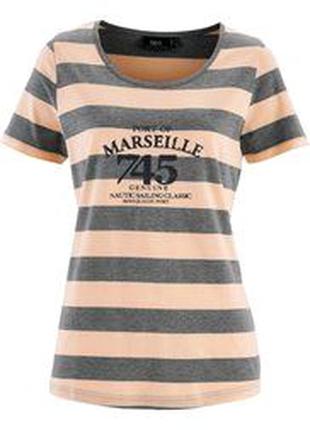 Коллекционная меланжевая футболка (тениска) в полоску