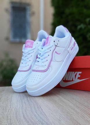 Модные и удобные Nike Air Force 1 Shadow (белые с сиреневым)