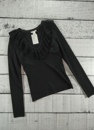 Джемпер черный с рюшами H&M