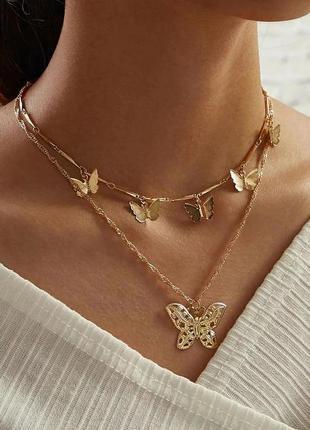 Цепочка двойная женская цвет золото подвеска бабочка 🦋