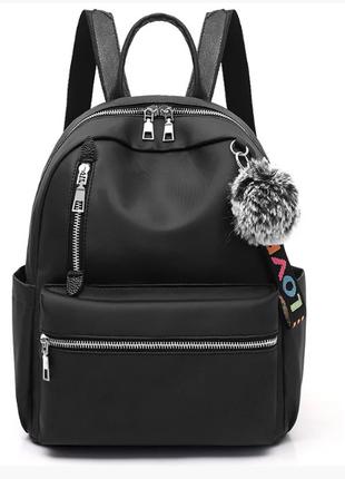 Рюкзак женский городской черный из нейлоновой ткани